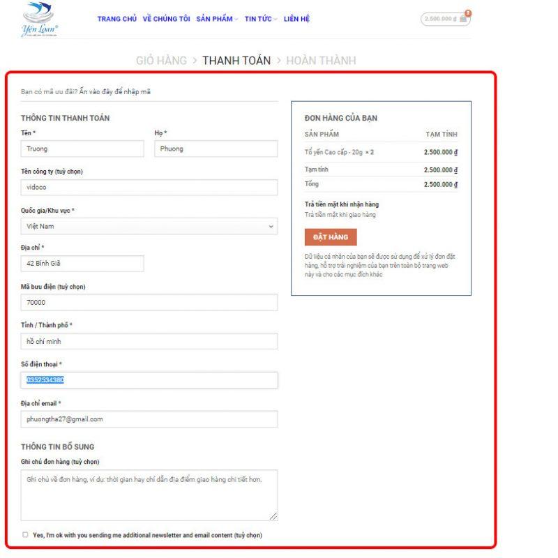 Quý khách hàng kiểm tra lại thông tin đơn hàng và điền đầy đủ thông tin giao nhận hàng