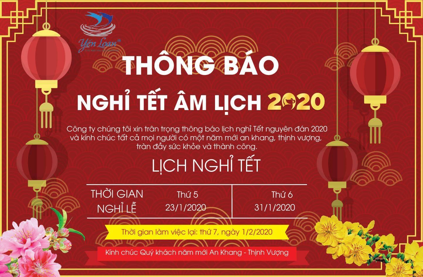 Thông báo lịch nghỉ tết nguyên đán 2020 – Công ty TNHH Loan Phát Huy